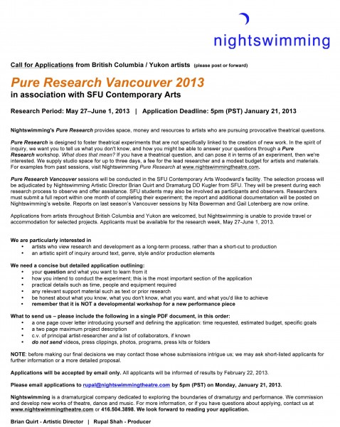PR Vancouver CALL for Applications 2013